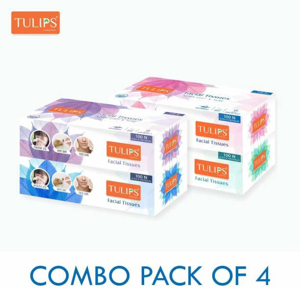 Tulips Facial Dry Tissue Paper, Super Soft, Super Absorbent, Skin Friendly, Facial Tissue & 100% Pure (Use In Home, Office, Car, Hospital, Travelling)