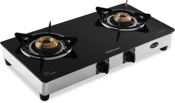 SUNFLAME LPG STOVE GT 2B REGAL SS Glass, Stainless Steel Manual Gas Stove