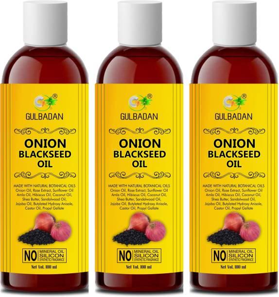 GULBADAN Onion Black Seed Oil Preventing Hair Loss & Promoting Hair Growth (Pack of 3) Hair Oil