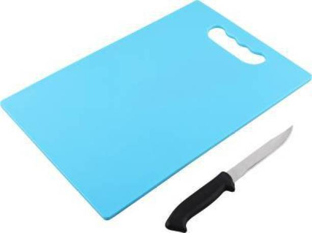 Floraware Plastic Chopping Board,1 Knife Free Silver and Plastic Cutting Board