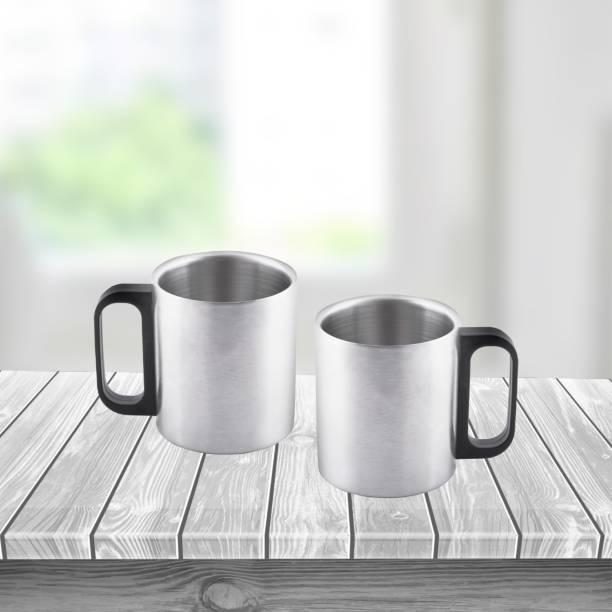 Flipkart SmartBuy Steel Pack of 2 Plastic, Stainless Steel Coffee Mug
