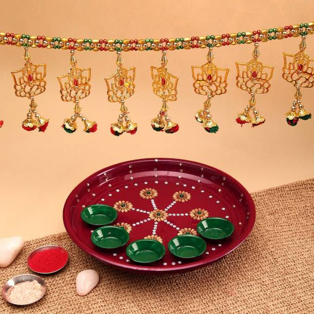 Aurum Pooja thali fancy with toran Stainless Steel