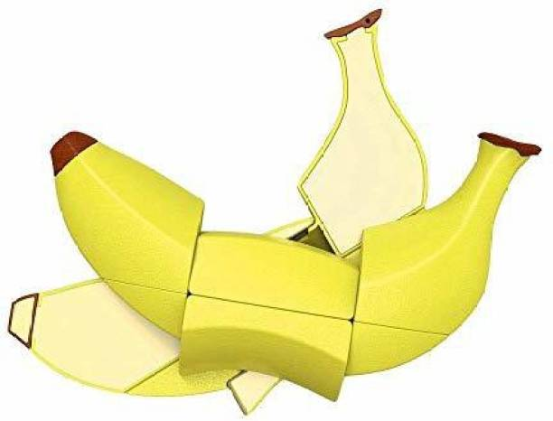 Smartcraft Banana Cube Puzzle, Fruit Shape Sticker less Banana Cube Magic Puzzle Toy - Yellow