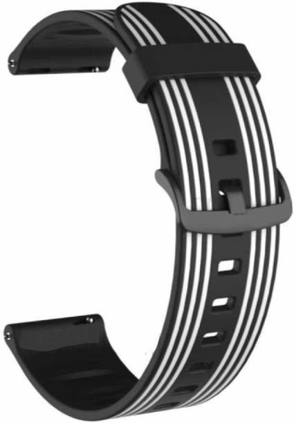 gettechgo Soft Striped Silicone 20mm Replacement Strap Band with Metal Buckle Compatible with Samsung Galaxy Watch 3 41mm, Galaxy 42mm, Galaxy Active 40mm, Active 2 (40-44mm) / AmazeFit BIP/BIP Lite/AmazeFit GTS, Amazefit GTR (42mm) / VivoActive 3 / RealMe Classic, Fashion & Smartwatches with 20mm Lugs Smart Watch Strap