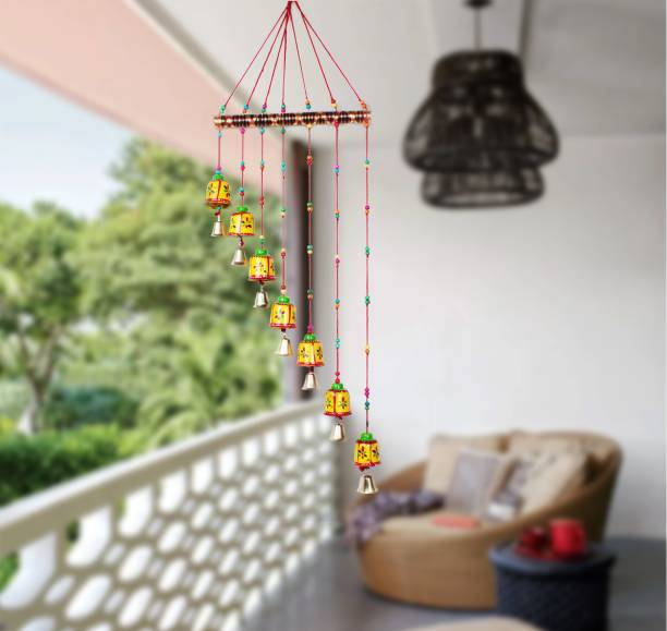 arnv Handcrafted Bells Design Wall Hanging Decorative Showpiece - 90 cm Wood Windchime (36 inch, Multicolor) Wood Windchime