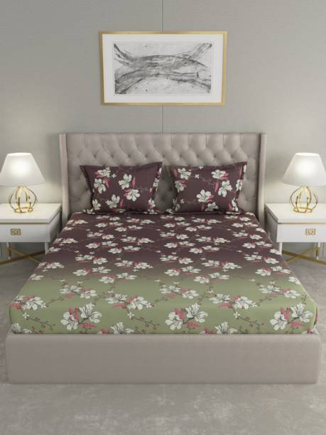 Raymond Home 104 TC Cotton King Floral Bedsheet