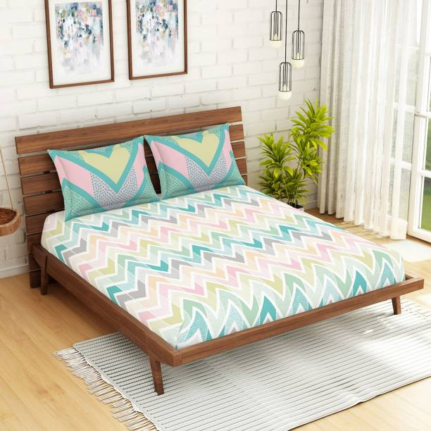 SPACES 144 TC Cotton Double Abstract Bedsheet