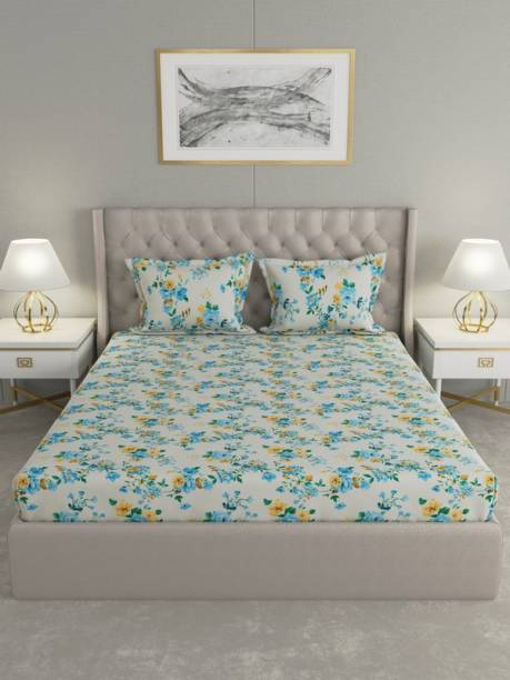 Raymond Home 104 TC Cotton King Floral Bedsheet
