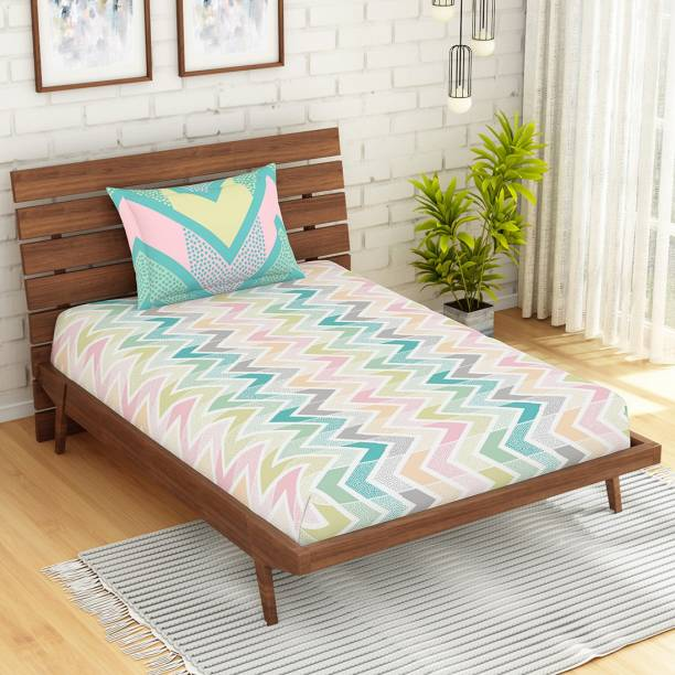 SPACES 144 TC Cotton Single Geometric Bedsheet