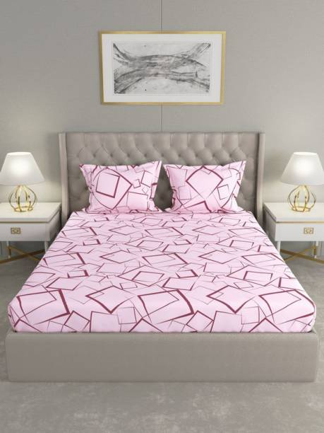 Raymond Home 104 TC Cotton Double Geometric Bedsheet