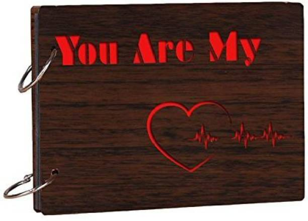 Crafts World You Are MY Wooden Scrapbook Photo Album for Memorable Gift on Boyfriend Girlfriend Husband Wife Spouse Birthdays, Valentines Day, Anniversary, Monthsary for Couples Album (Photo Size Supported: 4x6) Album