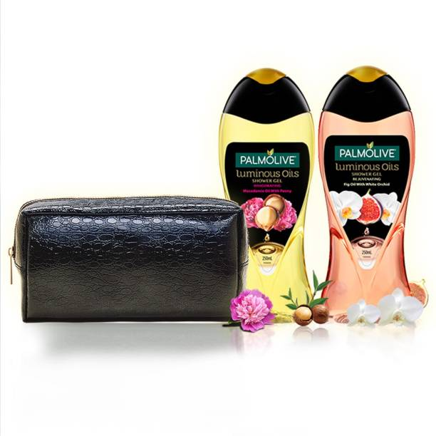 PALMOLIVE Luminous Oil Indulgence Body Wash Kit with Leather Pouch - Rejuvenating & Invigorating Shower Gel, pH Balanced, No Parabens, No Silicones