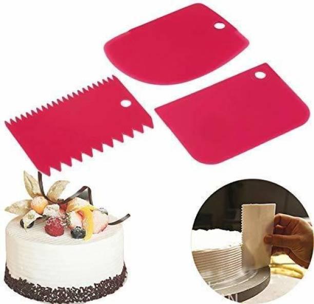 Flipkart SmartBuy 3pcs/Set Plastic Dough Bench Scraper Cake Cutter, Chopper, Smoother Icing Fondant Cake Decorating Pastry Baking Tool Baking Comb