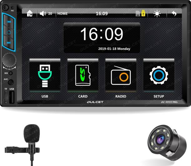 DULCET DC-9911T PRO 240W Universal Fit Double Din 7 inch Touch Screen Car Stereo with HD Display / Capacitive Touch Screen / External Microphone & Remote Control it supports Bluetooth / USB / FM / AUX / SD Card / Android & iOS Screen Mirroring (Also, Includes an 8 LED Night Vision Car Rear View Parking Camera) DC-9911TC PRO Car Stereo