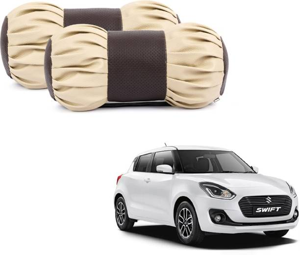 ABP Beige, Brown Leatherite Car Pillow Cushion for Maruti Suzuki