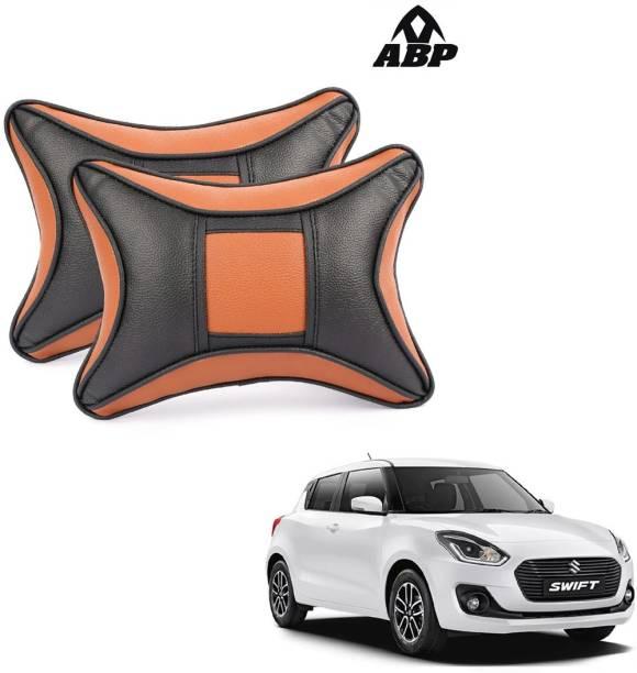ABP Orange, Black Leatherite Car Pillow Cushion for Maruti Suzuki