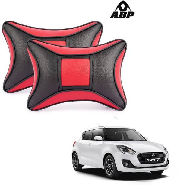 ABP Red, Black Leatherite Car Pillow Cushion for Maruti Suzuki