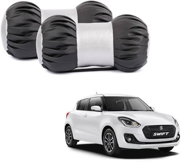 ABP Black, Silver Leatherite Car Pillow Cushion for Maruti Suzuki