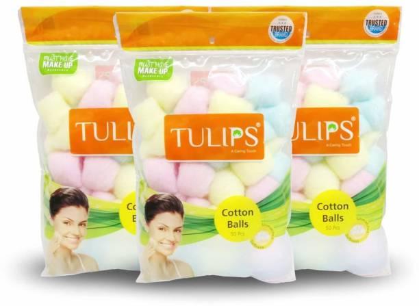 SafeWord Color Tulips Premium Cotton Balls For Removing Nail Polish, Make Up, Applying Powder, Bronzer and Blush