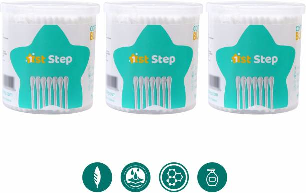 1ST STEP Baby Cotton Buds (200 Buds/Pack x 3 Packs = 600 Buds)