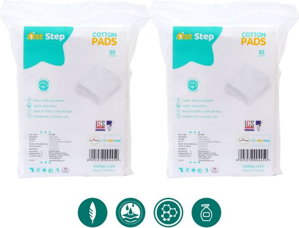 1st Step Cotton Pads (56 Grams/Pack x 2 Packs = 100 Grams Cotton Pads)