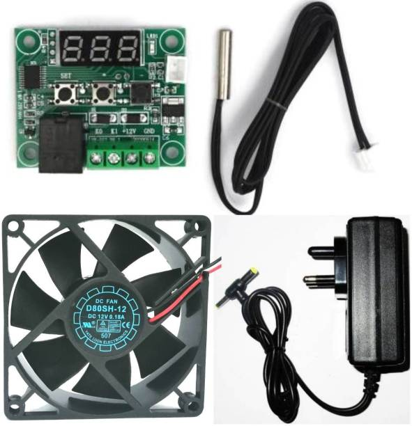 TechSupreme Combo for DIY Incubator W1209 12V DC Digital Temperature Controller Board with 12v 2amp charger and 3 inch fan Electronic Components Temperature Sensor and Controller Electronic Hobby Kit