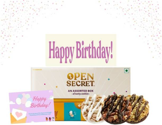 Open Secret Birthday Hamper, 12 Healthy Choco Dry fruit Cookies 1 Gift Box+1Card