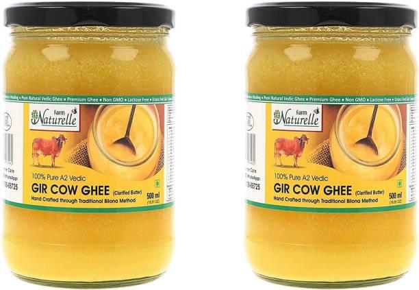 Farm Naturelle 100% Pure A2 Gir Cow Desi Ghee (Glass Bottle- 2x 500ml) Ghee 1000 ml Glass Bottle