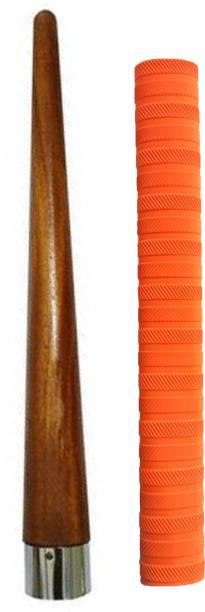 Raider Set of 1 Cricket Bat Orange Grip + One Wooden Cone Chevron