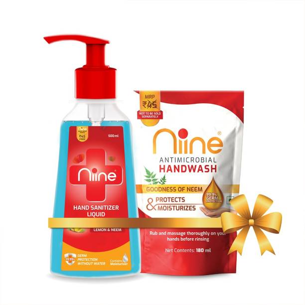 niine  Liquid Pump with Goodness of Lemon and Neem, 70% Alcohol, 500 ml Pump + 180ml Hand wash Refill (Combo Pack) Hand Sanitizer Pump + Refill