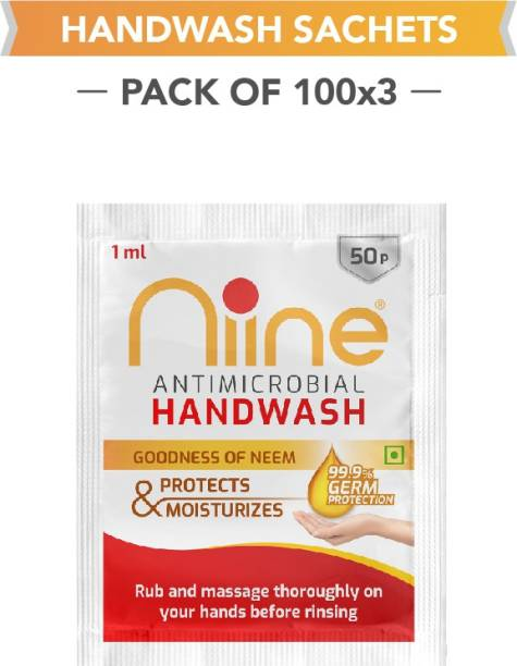 niine Handwash 1ml Each Sachet for 99.9% Germ Protection, enriched with goodness of Neem Hand Wash Sachet