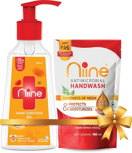 niine Gel based  Pump with Goodness of Neem and Turmeric, 70% Alcohol, 500 ml Pump + 180 ml Hand Wash Refill (Combo Pack) Hand Sanitizer Pump + Refill