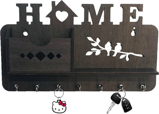 Cybe Home Wooden Single Pocket Side Self 7 Hook Key Holder Wood Key Holder