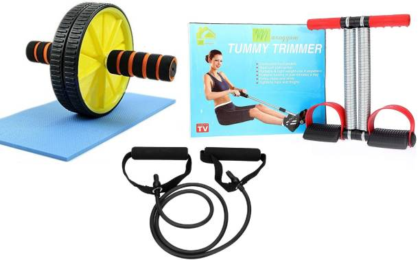 Manogyam Double Spring Tummy Trimmer with Single Toning Tube Exerciser With Ab Roller Combo Gym & Fitness Kit
