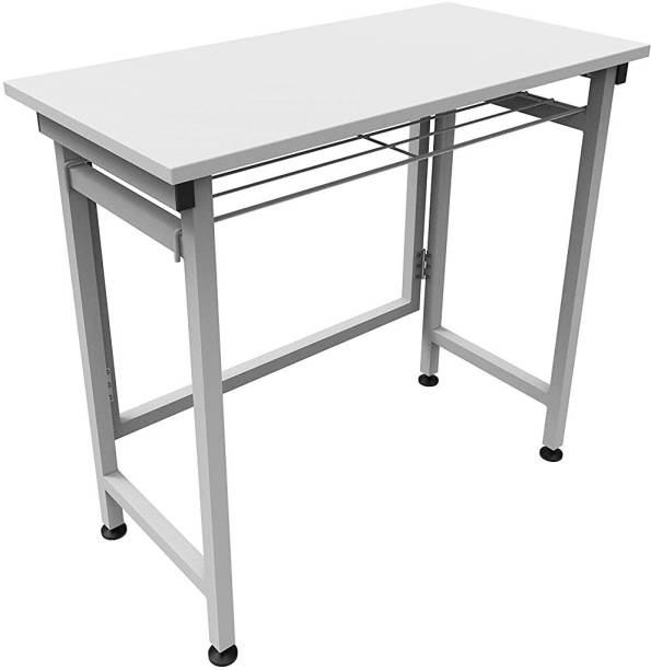 InnoFur Folding Desk/Folding Table/Study Table/Laptop Table (White) Engineered Wood Office Table