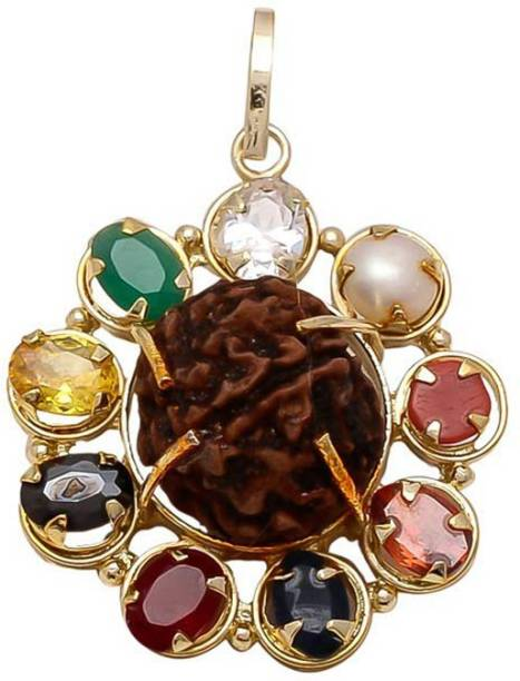 FOBHIYA Multicolour Synthetic Brass Navratan/Navgrah Flower Shape Locket Pendant with 5 Mukhi Rudraksha In Gold Plated for Men and Women, Made in India Best For Gifting (Golden) Gold-plated Ruby, Cat's Eye, Coral, Sapphire, Emerald, Zircon Metal Locket