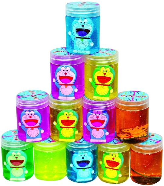 PKTOYS Crystal Clear Putty Slime Jelly Clay for Kids & Teens for Birthday Return Gifts(Avenger)(Pack of 12) Multicolor Putty Toy