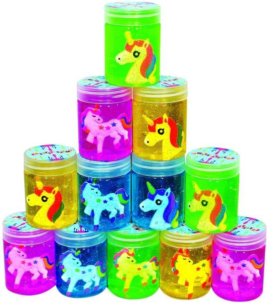 PKTOYS Crystal Clear Putty Slime Jelly Clay for Kids & Teens for Birthday Return Gifts (Unicorn) Pack of 12) Multicolor Putty Toy
