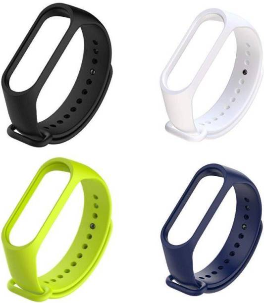 Ceol Soft Silicon Replacement Brand Strap For Mi Band 3 & 4 _ Pack of 4 Black, White, Neon Gree & Navy blue Smart Band Strap