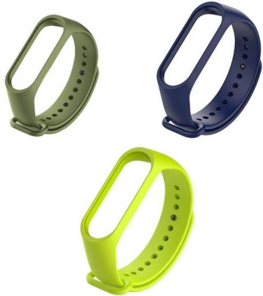 ARNO silicon band pack of 3 strap (Army Green, Navy Blue, Green) Smart Band Strap
