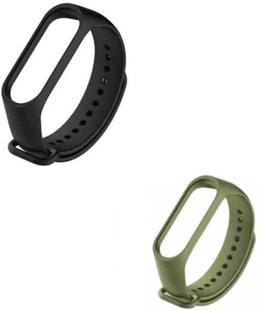 ARNO silicon band pack of 2 strap (Black, Green) Smart Band Strap