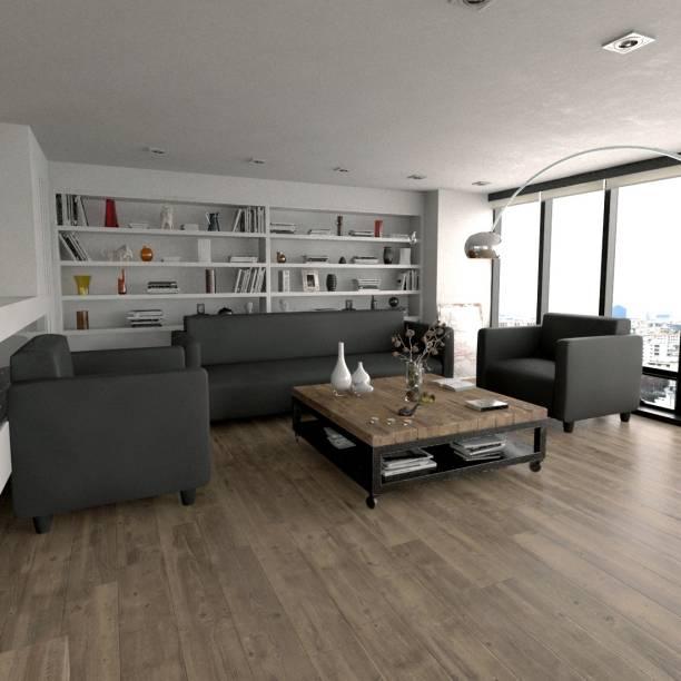 Sekar Lifestyle Box Series Leatherette 3 + 1 + 1 Grey Sofa Set