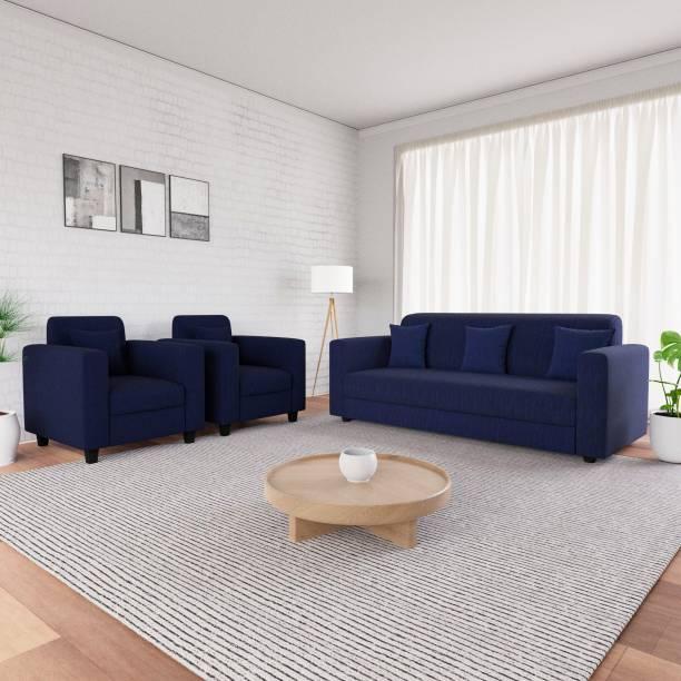 Flipkart Perfect Homes Bergen Fabric 3 + 1 + 1 Blue Sofa Set