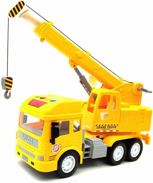 HIM TAX Friction Power Toy Trucks for Kids,Pull Back Vehicles Crane Toy,Light & Sound Truck Toy for Kids with 4 Wheels