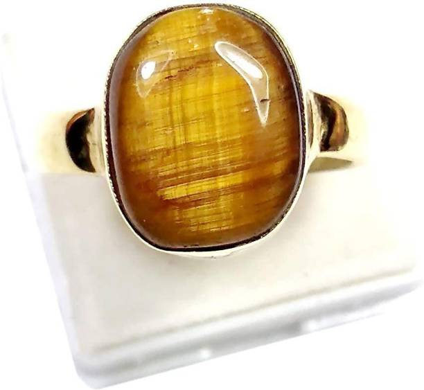 arjun navratn Certified Natural Tiger's Eye Stone 10.25 Ratti Origional Chiti Unheated and Untreated Rashi Ratna Gemstone for Men and Women Brass Gold Plated Ring Acrylic Gold Plated Ring