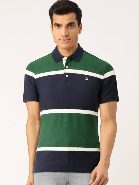 United Colors of Benetton Color Block Men Polo Neck Green T-Shirt