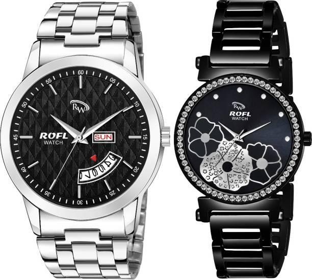 rofl RW-C306-DBC Beautiful Black LoveBirds Analog Watch  - For Couple