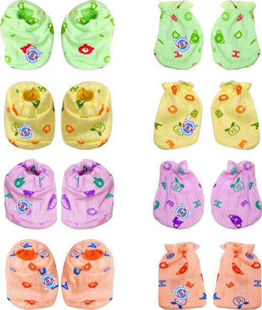 V.B.K Baby Hand Mittens (4 Pair) and Leg Booties (4 Pair), Hosiery Soft Fabric