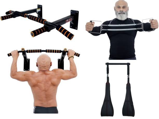 Allyson Fitness Chin Up Bar Pull Up Bar Wall Mounted with Spring Chest Expander and AB Strap Combo Pull-up Bar