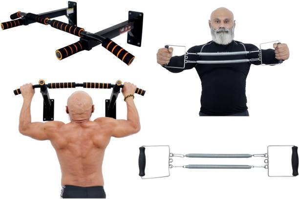 Allyson Fitness Chin Up Bar/Pull Up Bar Wall Mounted with Chest Expander and AB Straps Combo Chin-up Bar